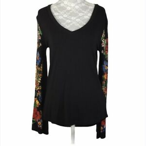 Desigual Women's Black Beaded Floral Flare Long Sleeves Sleeves Tunic Size XS