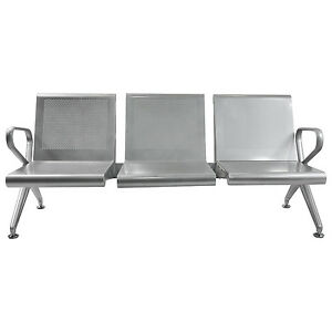 3 Seat Airport Office Reception Salon Bench Waiting Room Chair Silvery Furniture