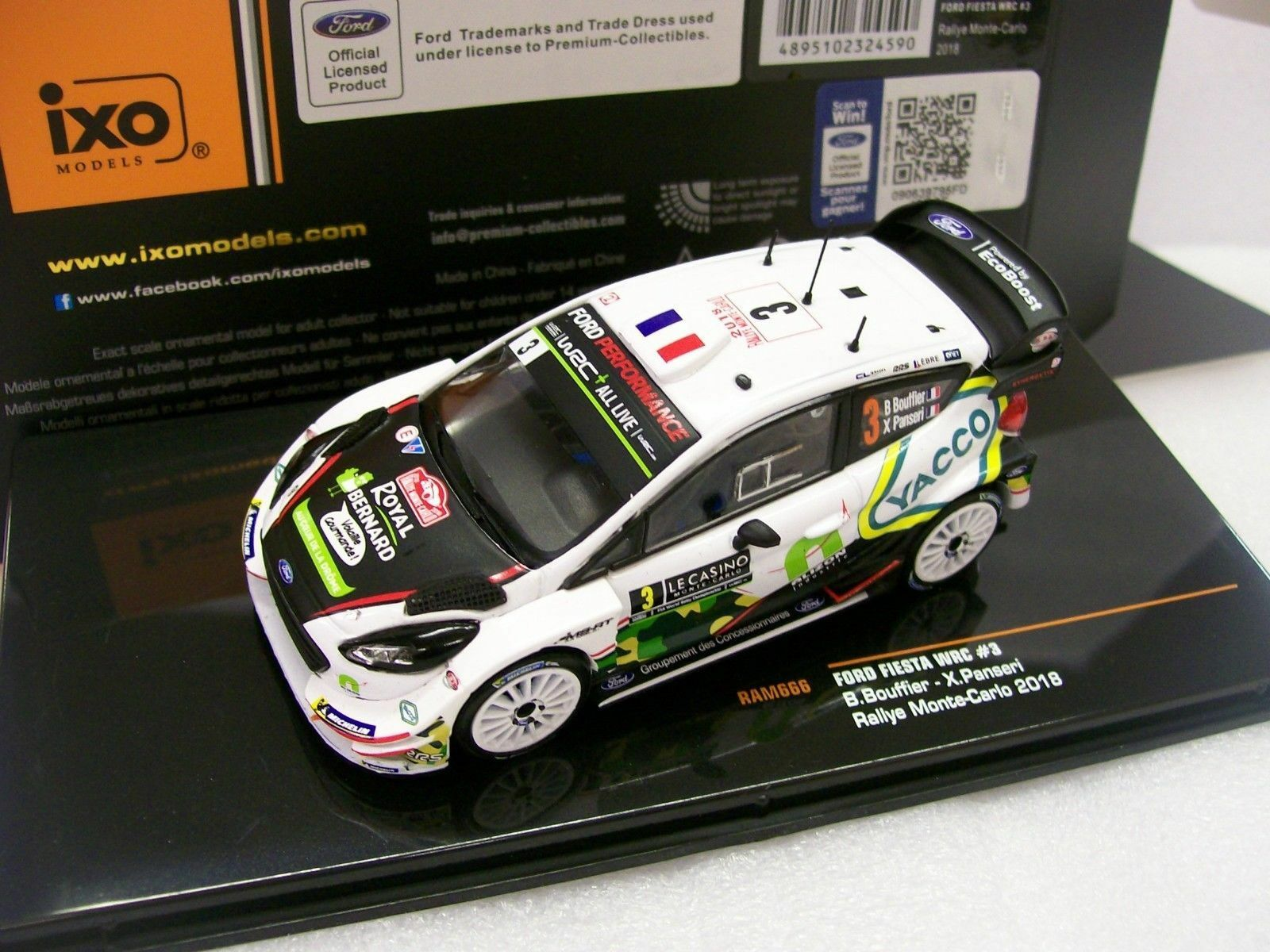 Ford Fiesta WRC 17 RS RALLY MOUNTED CARLO 2018 Bouffier 1 43 IXO