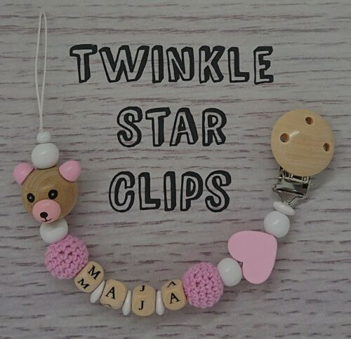 Personalised Dummy Clip Crochet Pink Baby Heart Wooden letters Love Babygift