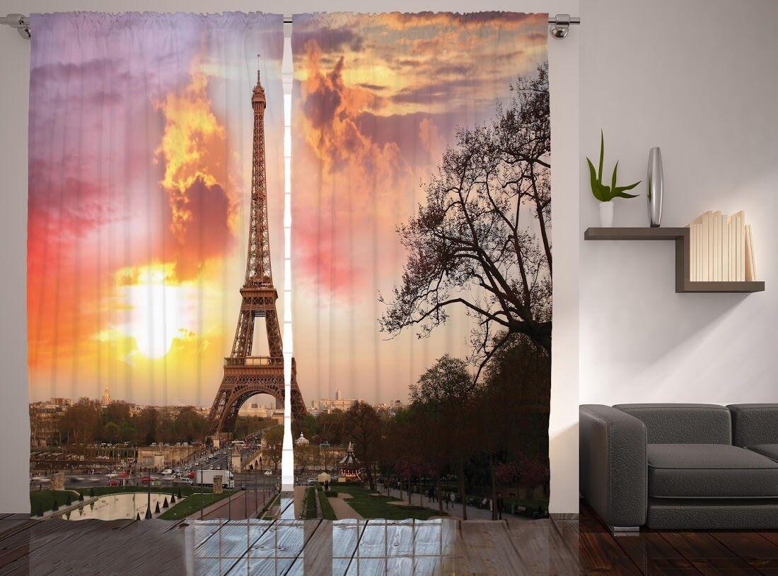 Set De 2 Torre Eiffel ventana gráfica paneles Sunset París ciudad Ventana Cortinas