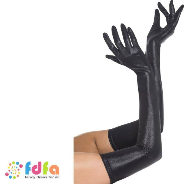 BLACK LONG WET LOOK LYCRA GLAMOUR GLOVES ladies womens fancy dress costume