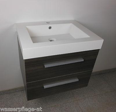 Waschtisch 80cm Badmöbel Set Unterschrank Waschbecken Spiegel graue Walnuss