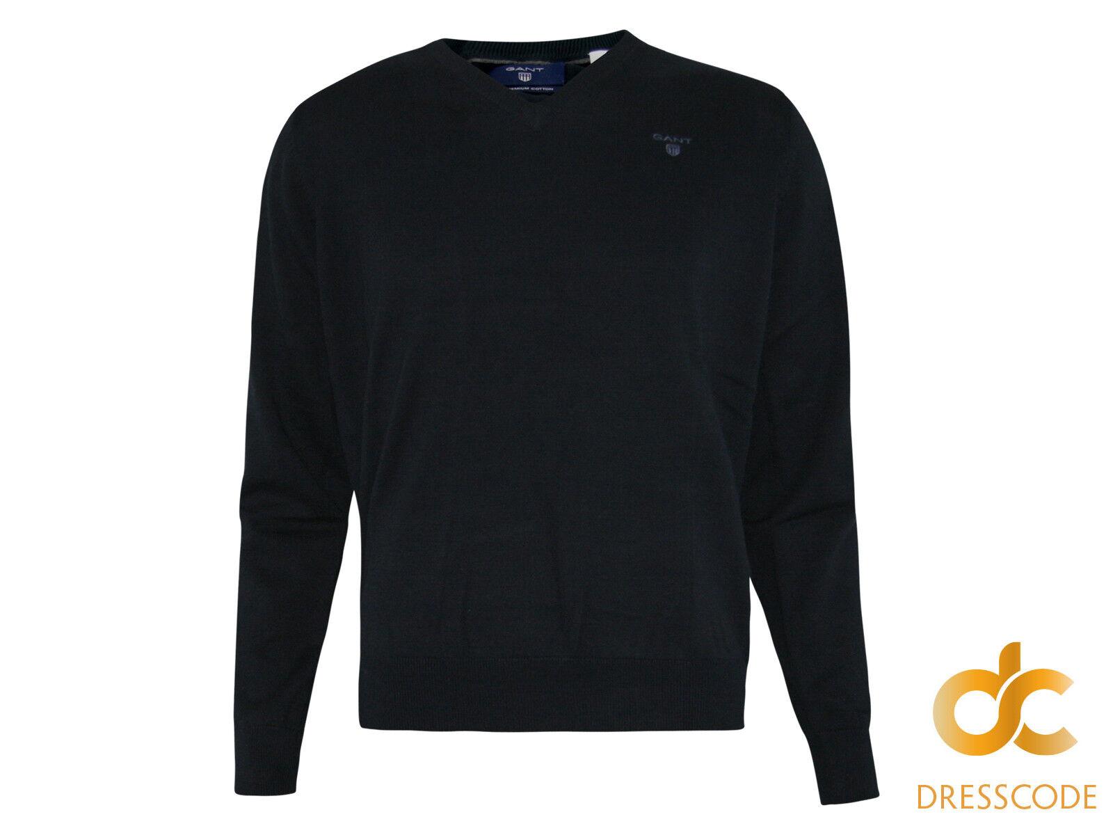 GANT Pullover Baumwolle Herren V-Pullover Ausschnitt - Dunkelblau Navy S M L XL