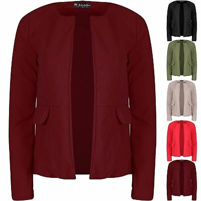 Ladies Plain Causal Open Front Long Sleeve Blazer Womens Side Pockets Cardigan