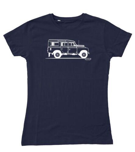 Ladies Original Sketch Land Rover 109 Series 3 LWB III Fitted T-Shirt