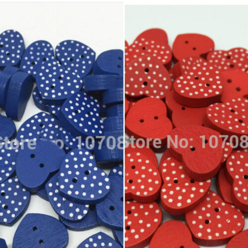 10 15mm blue and red Wood Heart Shape Spotted Buttons 2 Holes