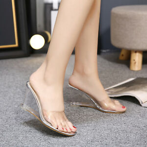 Details about Womens Clear Transparent Sandal Slipper Hollow Out Open Toe Wedge  Heels Shoes