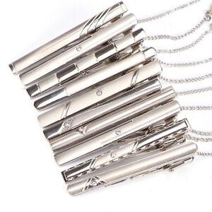 Uomini-Plain-Argento-Cromato-Acciaio-Inossidabile-Standard-Cravatta-Clip-Fibbia-BAR-Piedini-BLA-UK