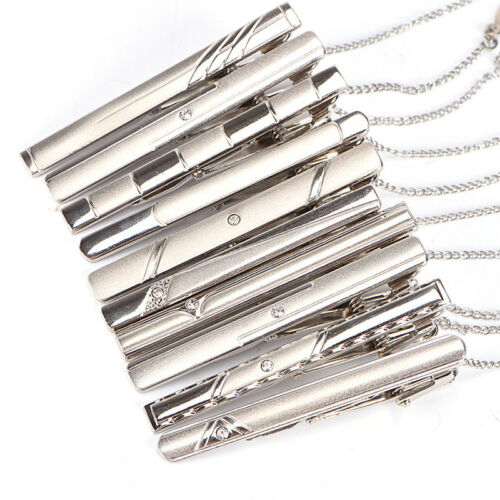 Men/'s Silver Necktie Tie Clip Stainless Steel Plain Clasp Bars Pins Clip Jewelry