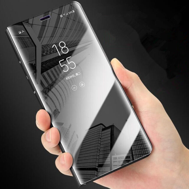 For Huawei Mate 9 10 Pro P10Lite Clear View Mirror Leather Flip Stand Case Cover