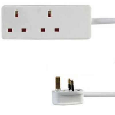 3 Metre Extension Lead Socket 2 Gang Way Mains Lead Cable White Fused 13A 2G 3M