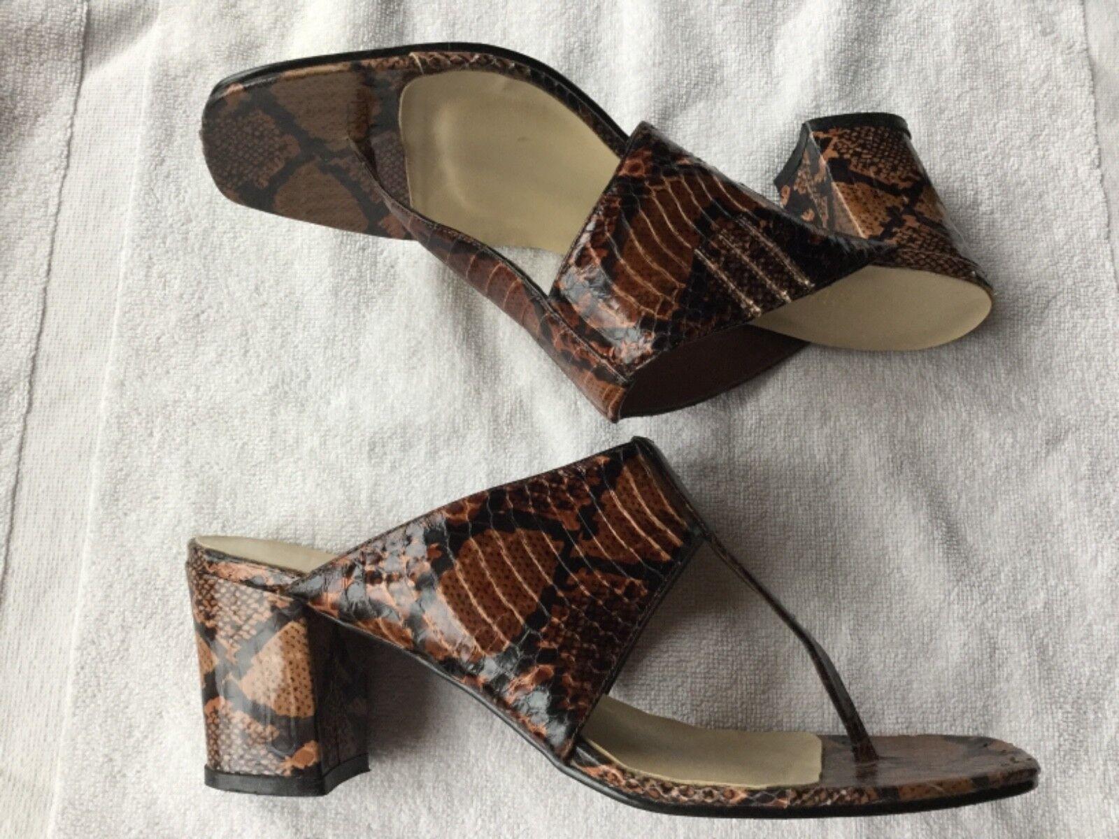 Vintage Colin Stuart LEATHER Mule CHUNKY Heel SANDAL Slide, Brown Snake 7M