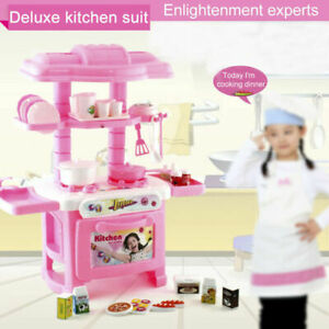 Details About Plastic Kitchen Toy Kids Cooking Pretend Play Set Toddler Playset Gift Pink