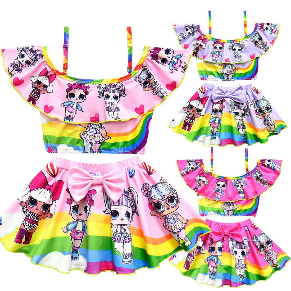 Kids LoL Surprise Doll Mädchen Bademode Bikini 2 Set Badeanzug Schwimmen Kostüm