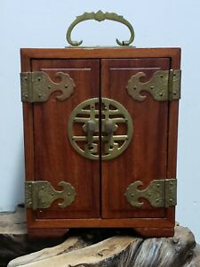 FINE-CHINESE-WOOD-WITH-BRASS-THREE-DRAWERS-JEWELRY-BOX