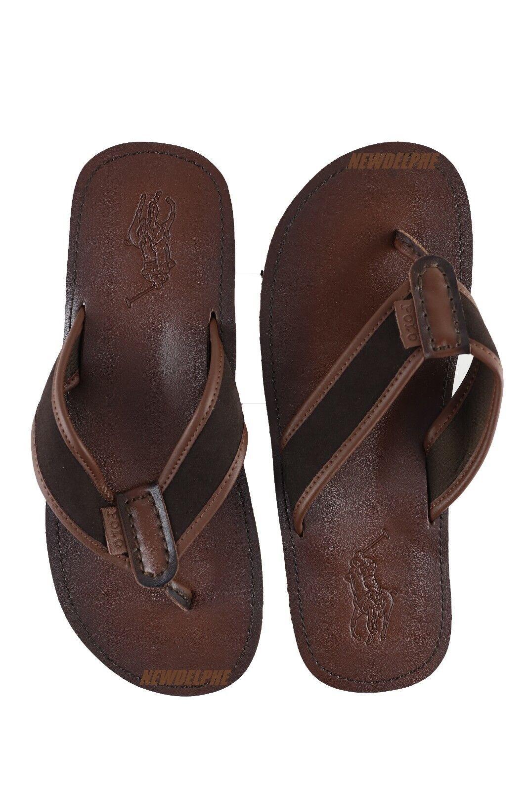 a9f1cc729b3 Polo Ralph Lauren Mens Black Leather Sullivan Flip Flops Size 12 ...