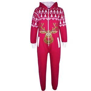 d6cbdea0ec2e Kids Boy Girls Christmas Pink Reindeer Fleece A2Z Onesie One Piece ...