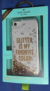 lowest price 7a551 91a21 Details about Kate Spade N.Y Glitter is My Favorite Color Case for iPhone 7  / 8 - Clear/Gold