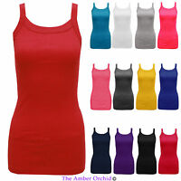 NEW LADIES WOMENS PLAIN STRETCH RIBBED RIB STRAP VEST TOP T SHIRT SIZES 8-14