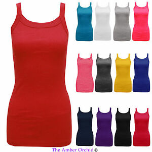 NEW-LADIES-WOMENS-PLAIN-STRETCH-RIBBED-RIB-STRAP-VEST-TOP-T-SHIRT-SIZES-8-14