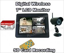 "Digital Wireless DVR Security System w 7"" LCD Monitor & 1 Camera, SD Card Record"