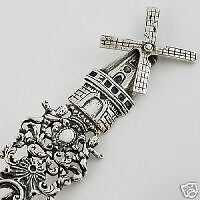 Spectacular-Late-19th-C-Dutch-Windmill-House-Silver-Souvenir-Spoon