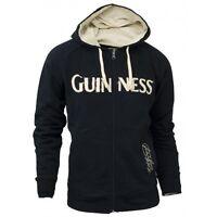 Guinness Classic Zip Hoodie Mens Irish Ireland Distressed Embroidered Jacket