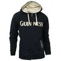 Guinness Classic Zip Hoodie Mens Irish Ireland Distressed Embroidered Jacket
