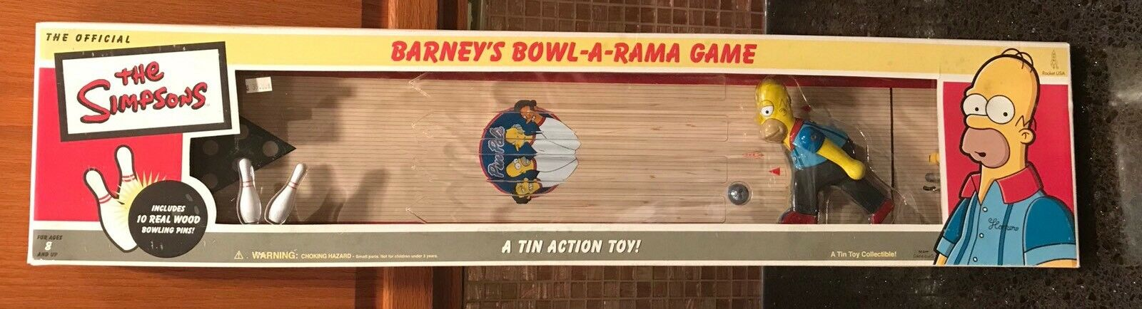 THE SIMPSONS BARNEYS BOWL - A -RAMA - A TIN ACTION COLECTIBLE BOWLING GAME
