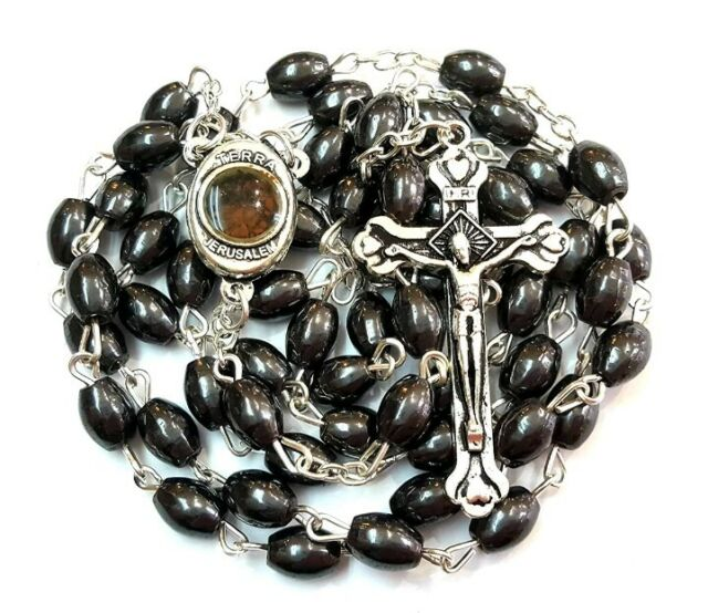 Stunning Hematite Natural Solid Stone Oval Rosary Beads /&FREE ROSARY BOX/&Booklet