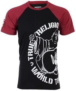 TRUE RELIGION Mens T-Shirt PART BUDDHA RAGLAN Black Red Sleeves  79 ... def9de29c85ba