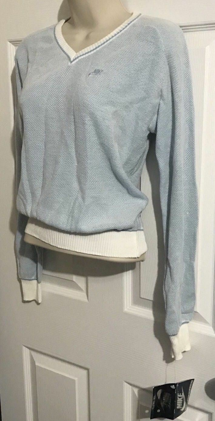 NEW VINTAGE RETRO NIKE WOMEN'S WOVEN TENNIS SWEATER LARGE blueE RARE WITH TAGS