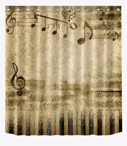 L//S Music Sheet music Fabric Polyester Bathroom Waterproof Shower Curtain 2230