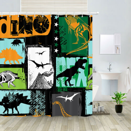 "Ancient Dinosaur Fantasy Shower Curtain Bathroom Decor Fabric /& 12hooks 71/"""