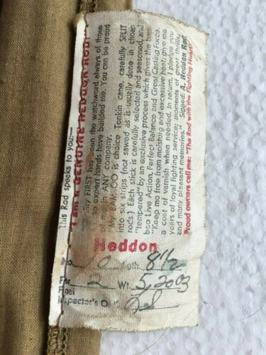 Vintage HEDDON #10 81/2 FT Bamboo Fly Rod 4 Piece WT 5.2003 Original 2 Virole