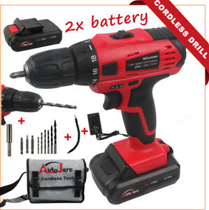 Power-Tool-Cordless-Drill-18V-20V-MAX-Drill-Set-Rechargeable-2x-Battery-bits
