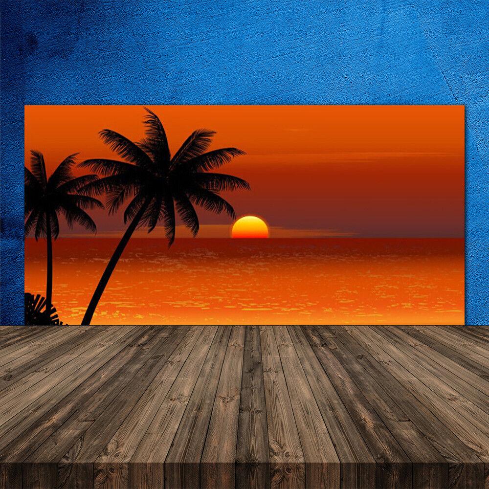 Crédence de cuisine en verre Panneau 120x60 Paysage Palmiers Mer Soleil