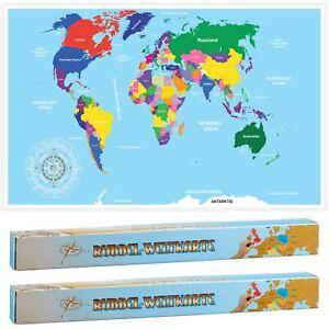 2x Rubbel Weltkarte 52x88cm Deutsch Rubbelkarte Landkarte Poster XXL Länderkarte