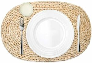 4-6-8Pack-Corn-Straw-Woven-Placemats-Oval-Heat-Insulation-Pads-Dining-Table-mats