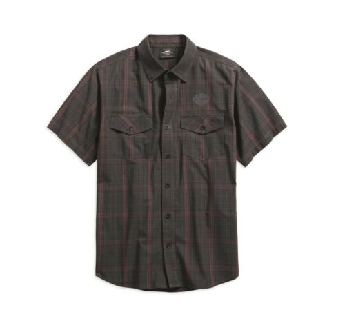 HARLEY-DAVIDSON Mens Grey Black Red Plaid Checked Short Sleeved Cotton Shirt