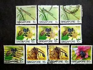 Singapore-1985-Insects-Loose-Set-Up-To-20c-Extra-10v-Used-5