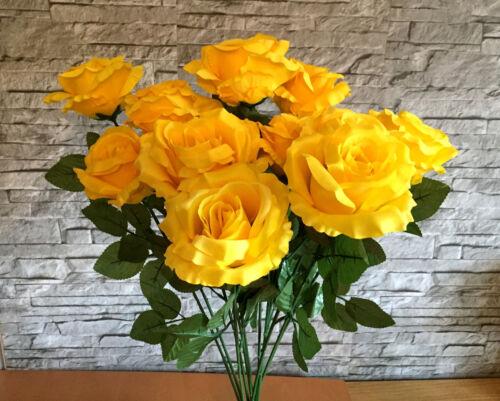 Seidenblumen Rosen 12 x Edelrose gelb Kunstblumen