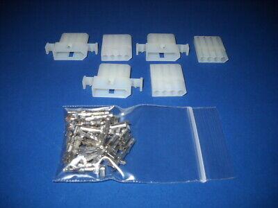 "3 Sets 4 Pin 2x2 Molex Connectors w//14-20 AWG .093/"" Pins Terminal Panel Mount"