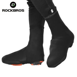 RockBros-Cycling-Shoe-Cover-Winter-Warm-Windproof-PU-Protector-Overshoes-Black