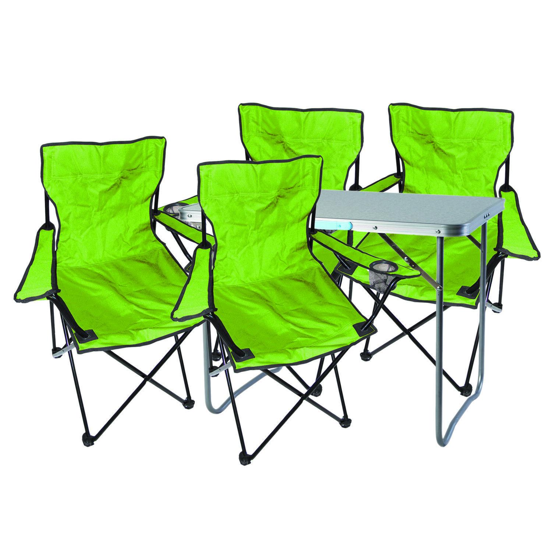 5-tlg. lime Campingmöbel Set, Tisch mit Tragegriff und Campingstuhl mit Tasche