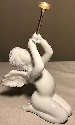 RARE Vintage Dept 56 White Angel Cherub Herald Blowing Trumpet Kneeling Retired