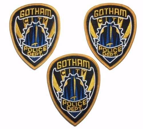 DC/'s Batman Gotham Police Shield 3 1//2 Inches Embroidered Patch Set of 3 Patches