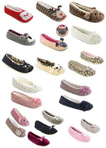 LADIES CORAL FLEECE BALLET SLIPPERS WITH GLITTER RIBBON BOW XMAS GIFT UK 3-8 NEW