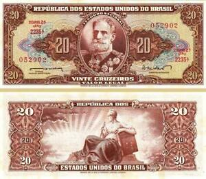 BRAZIL-20-CRUZEIROS-1962-UNC-P-178-SIGN-11-WITH-VERY-LITTLE-TONE